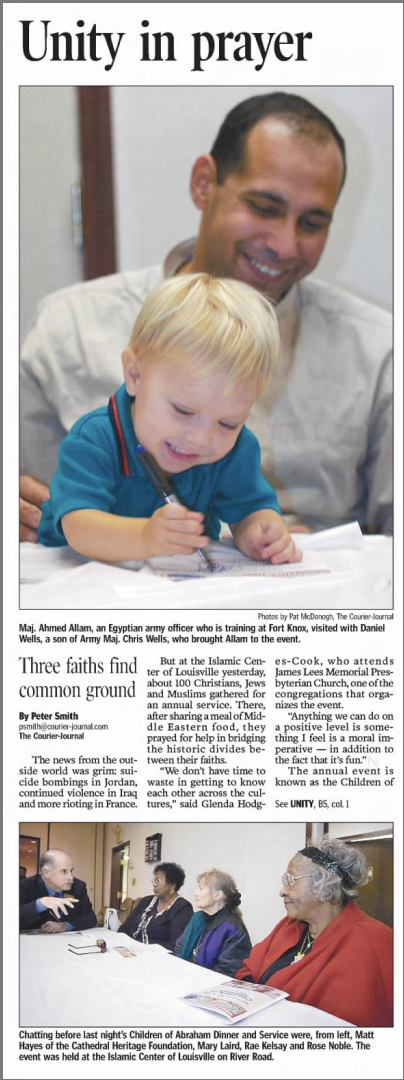 """Smith, Peter. """"Unity in Prayer."""" The Courier-Journal, 10 Nov. 2005, p. B1."""